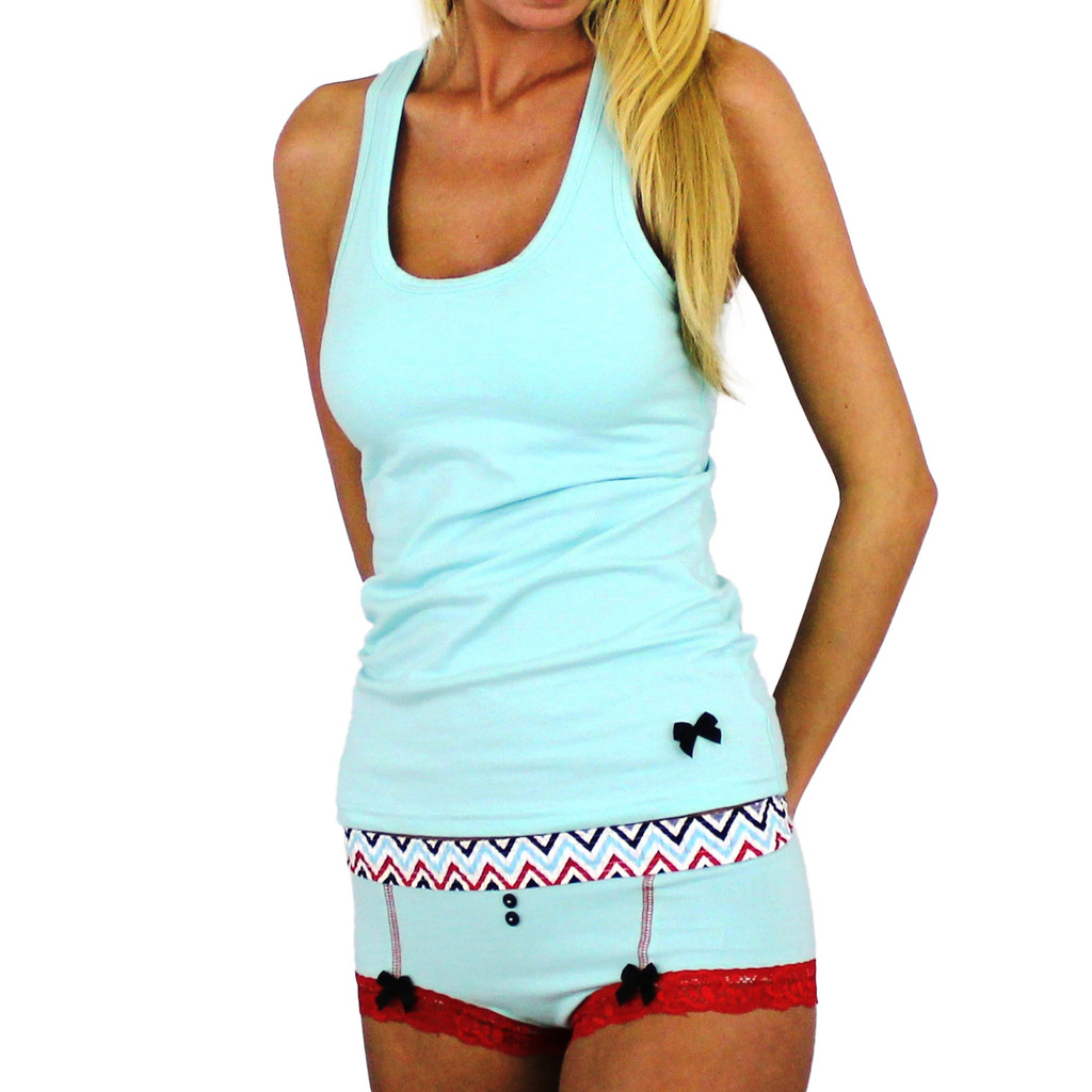 Aqua Boyshort with Chevron waistband