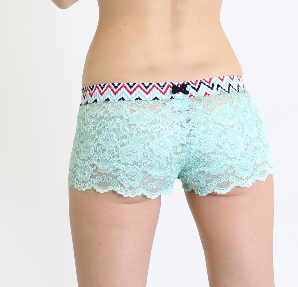 Aqua Mint Lace Boxer with Chevron FOXERS band