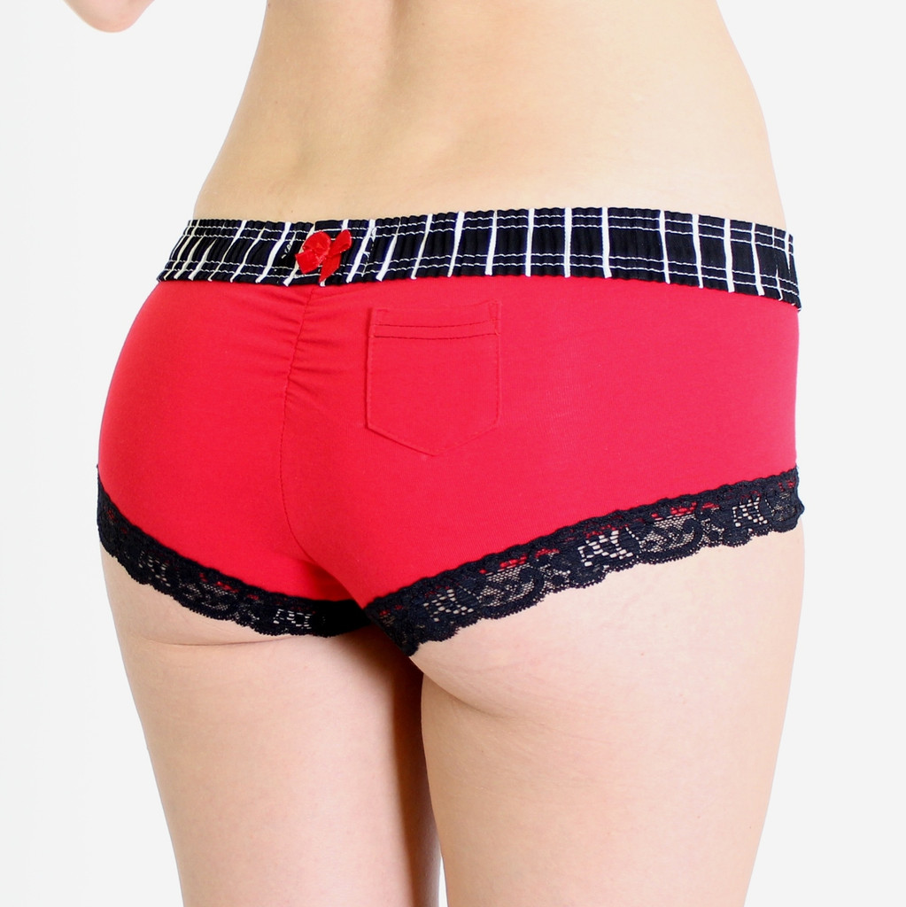 Black with White Pinstripe/ Red Boyshort