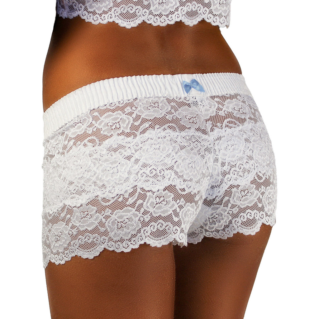 Ladies White Lace Boxer Boyshorts with light Blue bow. Great for Wedding Lingerie!