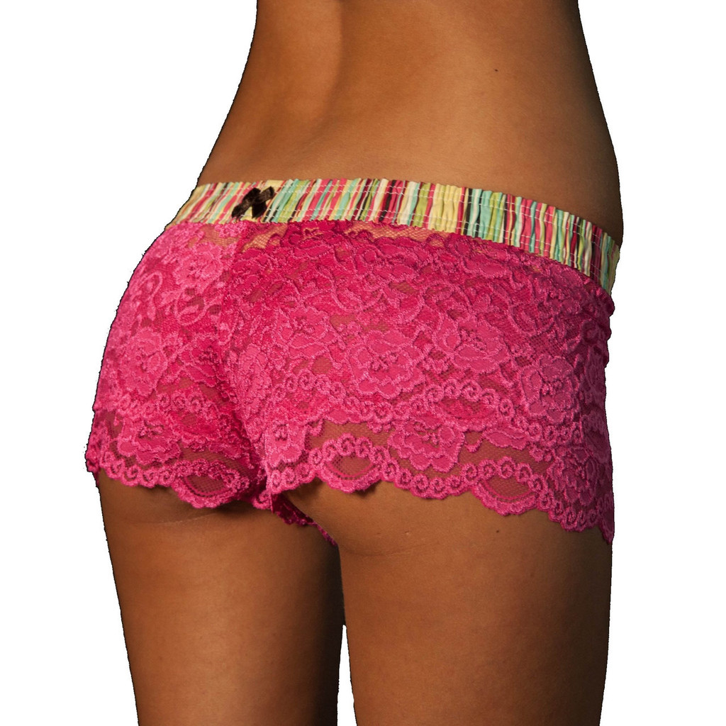 Fuchsia Lace Boxers with Aqua Waistband