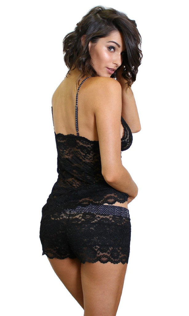 Hip Length Black Lace Chemise Cami