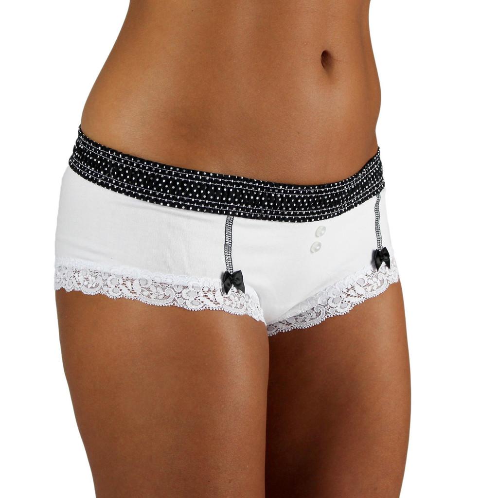 Black Dot waistband on White Boyshorts Panties