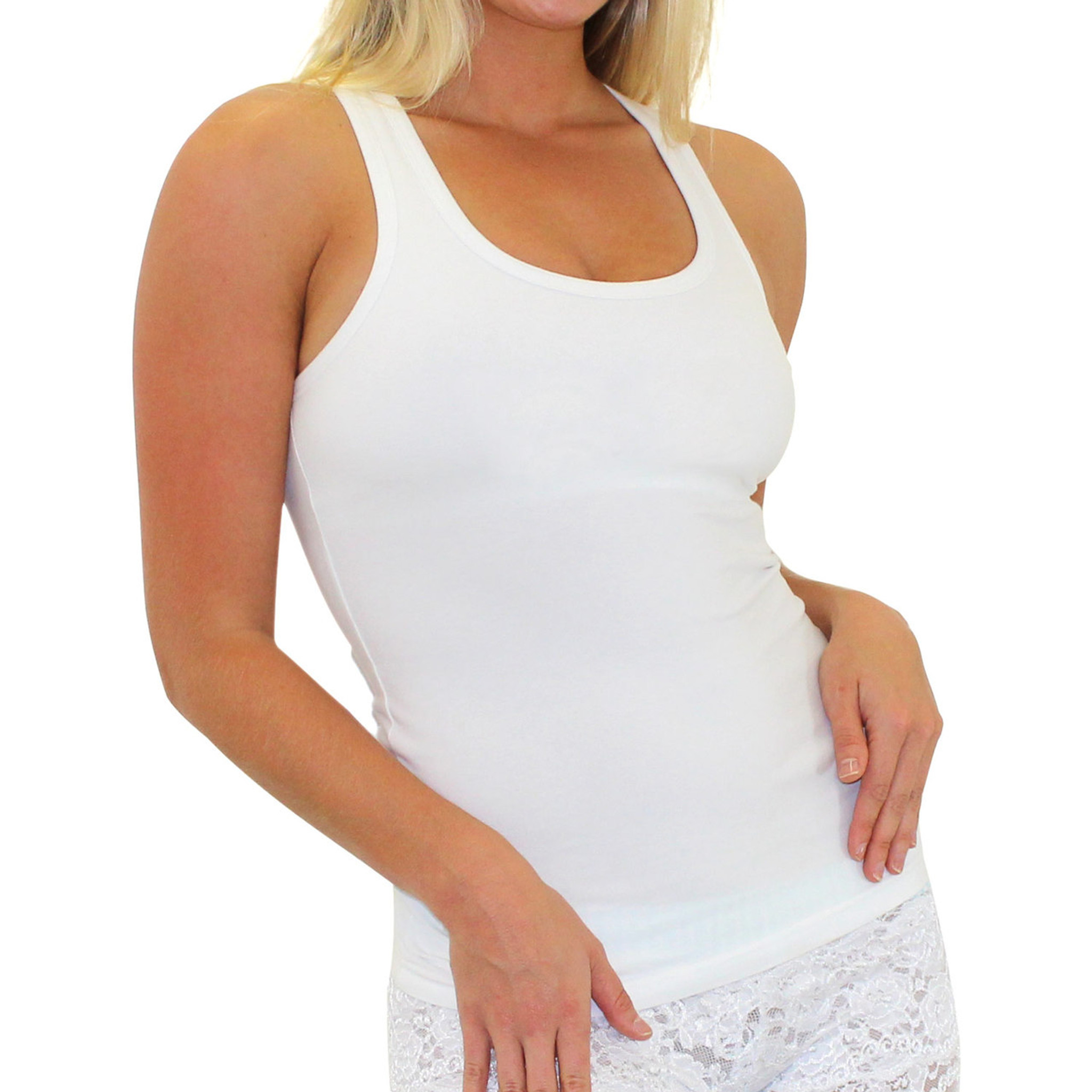 White Racer Back Tank Top With Built In Shelf Bra