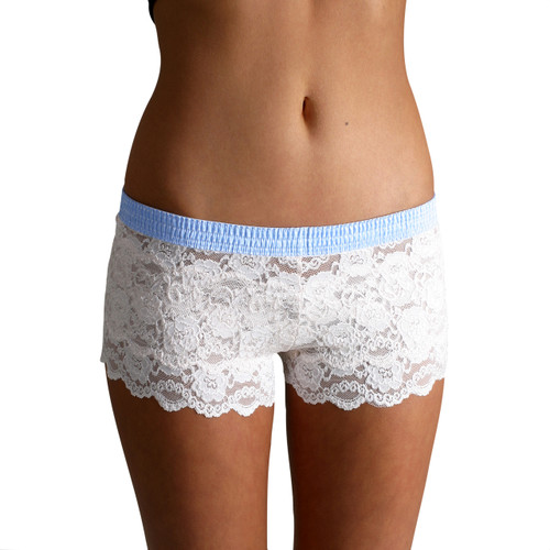 Ivory White Lace Boxers with Light Blue Dot FOXERS Band
