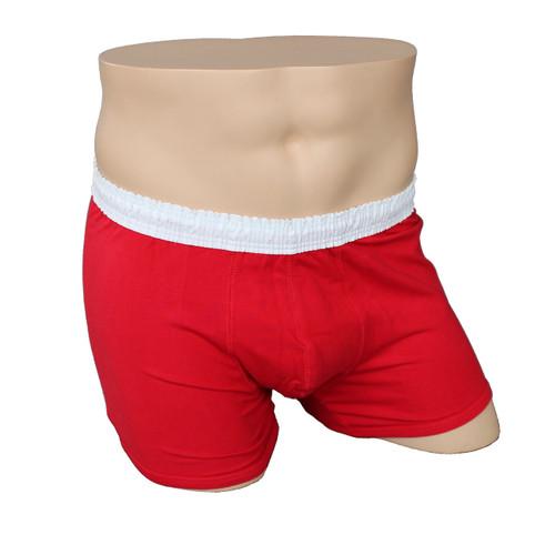 Men's White over Red Short Boxer Brief
