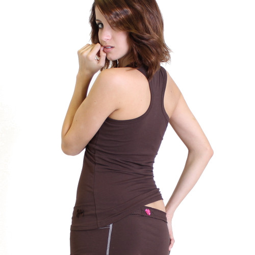 Brown Racer Back Tank Shirt