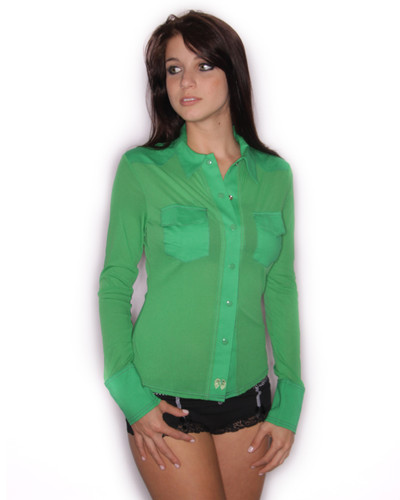 Kelly Green Sheer Western Lounge Top