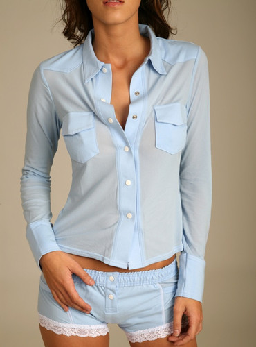 Lt Blue / White Trim Sheer Western Lounge Top