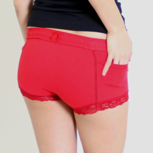 Womens Red Boxers with Black Accents