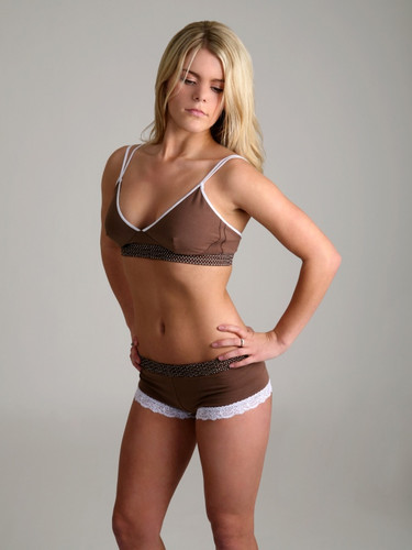 Brown Dot / Brown (White Bow) Bra Top