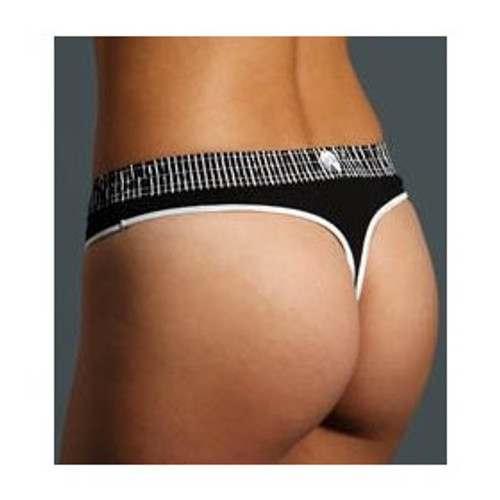 Black Stripe / Black Bstring (White Trim) Thong
