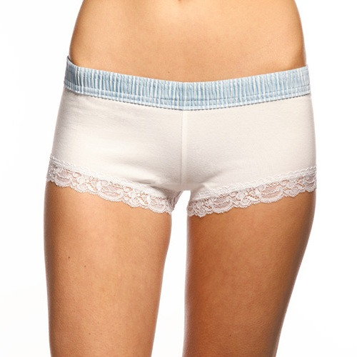 Light Blue Stripe over White Boyshort