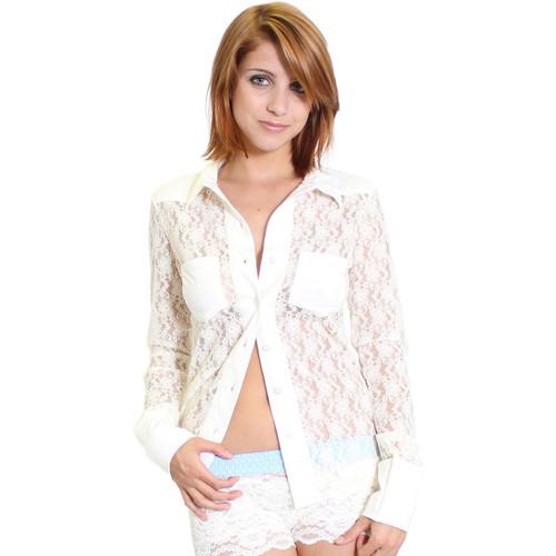 Ivory Lace Sexy Western Shirt