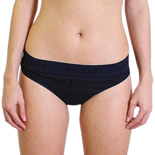 Sexy Black Thong Panties with FOXERS Logo Flat Waistband