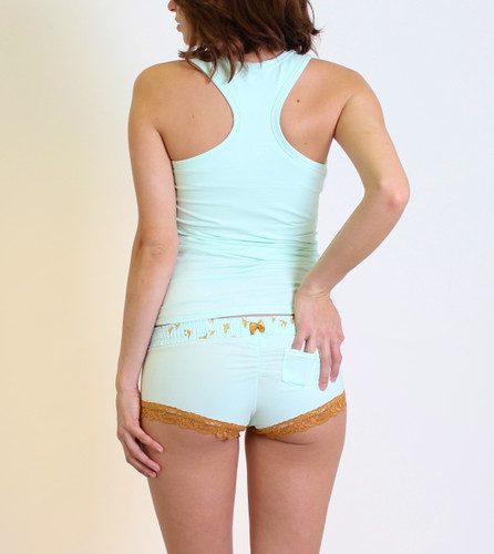 FOXERS Mint Boyshorts and Matching Racer Back Tanktop