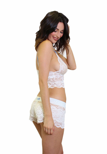 White Lace Boxer Panties and Lace Top
