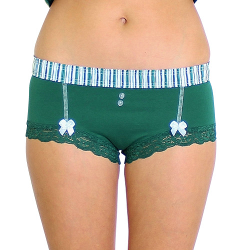 Forest Green Boyshort with Alpine Stripe