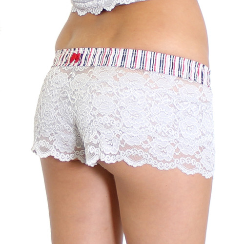 Silver Lace Boxers with Navy, Red, Black, and Gray Stripe FOXERS Band