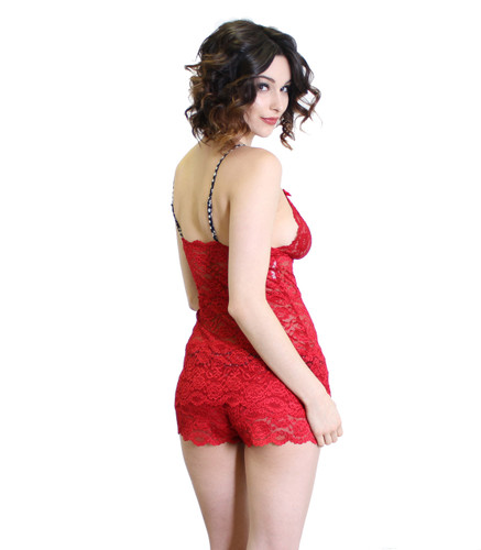Red Lace Boy Short Boxers and Matching Cami