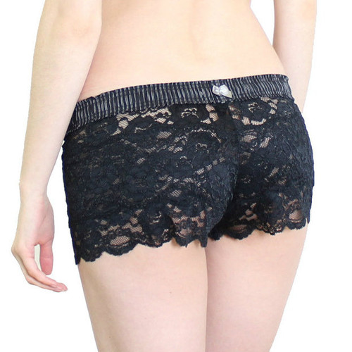 Black Lace Boxers with Pinstripe Band