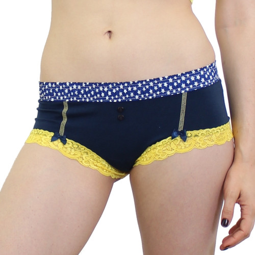 Navy boyshorts with yellow lace trim