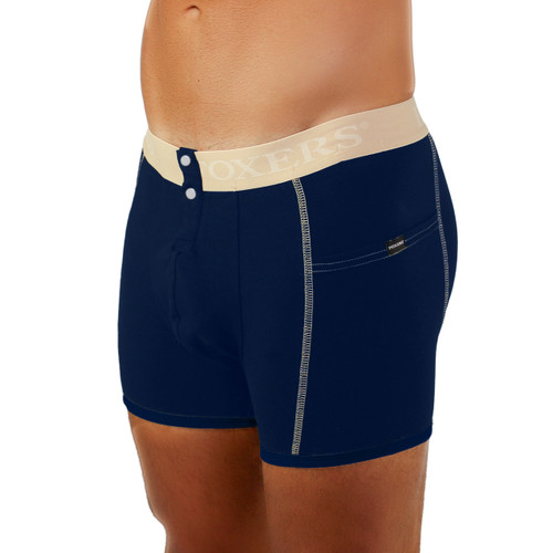 Men's Navy Boxer Brief with Sand FOXERS Band