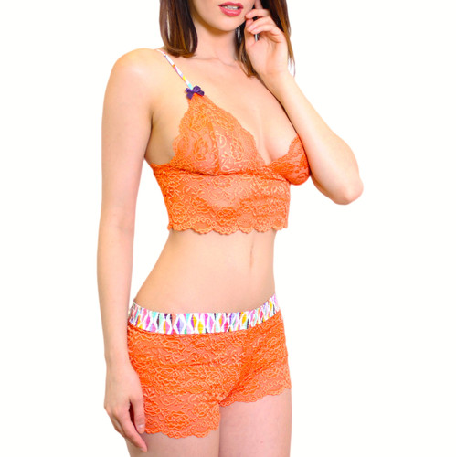 Orange Lace Camisole and Matching Lace Boxers
