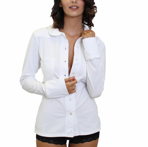 Women's White Button Down Shirt | FOXERS Equestrian