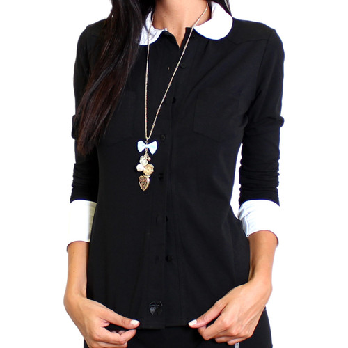 Womens Black Button Down Blouse with White Peter Pan Collar and Cuffs