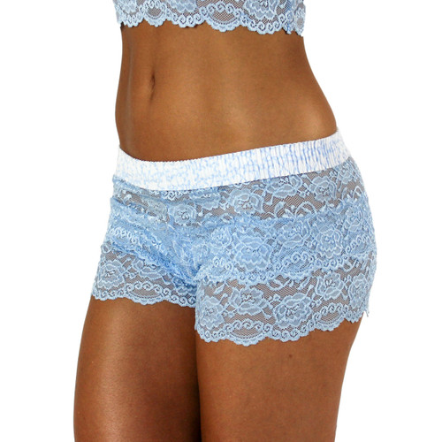 Light Blue Lace Boxers with Trellis FOXERS Band