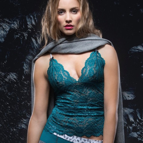 Teal lace camisole bralette