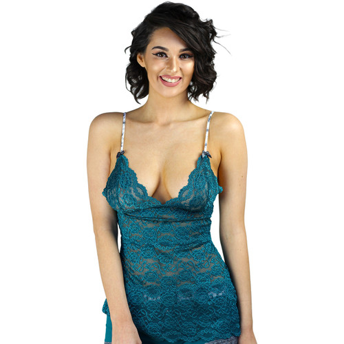 Aurora Blue 3 Row Lace Camisole with Elk Straps