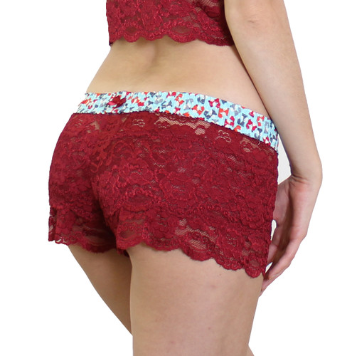 FOXERS Cranberry Lace Boxers with Foxes Band