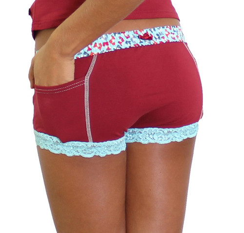 Red boxer brief for women with foxy print waistband