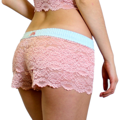 French Rose Lace Boxers with Aqua Dot FOXERS Band