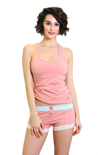 Pastel Pink Tank Top with Shelf Bra paired with our matching boy shorts