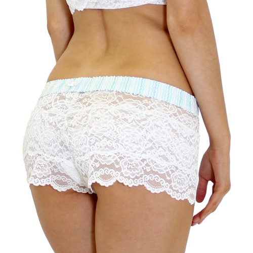 Womens White Lace Bridal Panties with Aqua Waistband