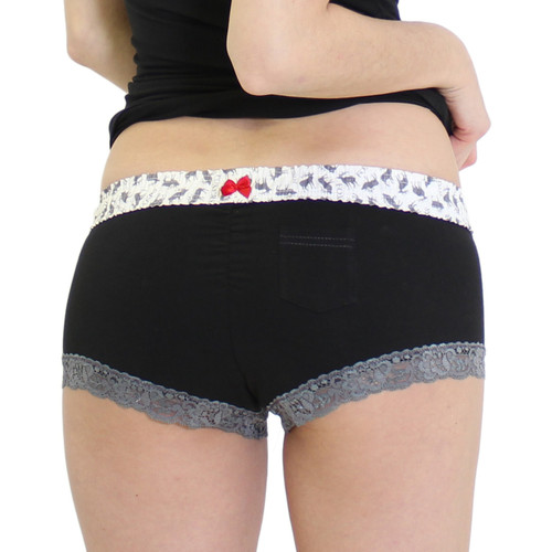 Black Boy Shorts Panties with Elk Waistband