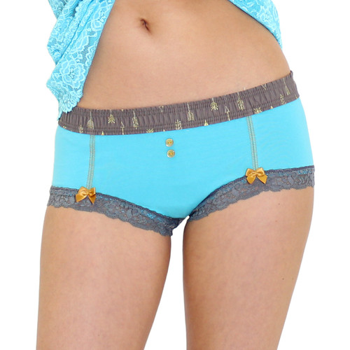 Turquoise Boyshorts with Arrow Print FOXERS Band