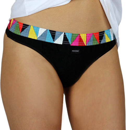Womens Black Thong Panties with Kaleidoscope Print Foxers Band