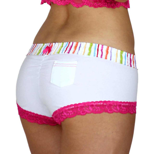 White Boyshorts Panties with FOXERS Watercolors Waistband