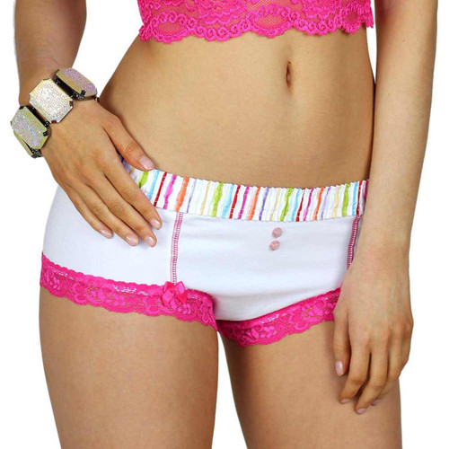 White Boyshorts Panties with Watercolors Waistband