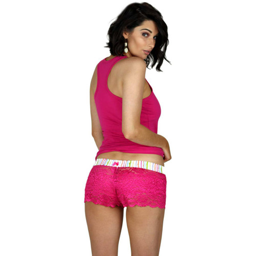Watercolors Lace Boxers and Fuchsia Racerback Tank