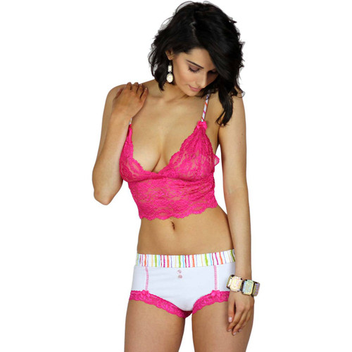 Pink Bralette With Matching Watercolors White Boyshorts