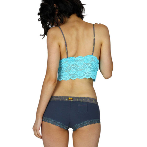 Gray Boyshorts Panties & Aqua Blue Lace Cami