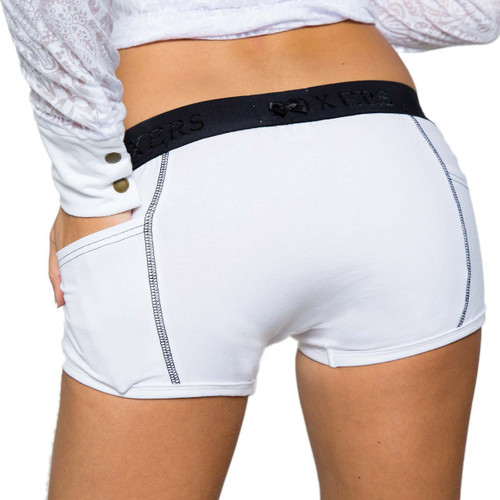 White Tomboy Boxer Briefs with Black FOXERS logo Flat Waistband