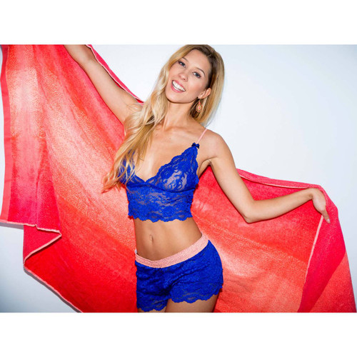 Women's Blue Lace Boxers and Matching Lace Bralette Top