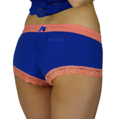 Women's Royal Blue Boyshort Panties with Coral Waistband | FOXERS