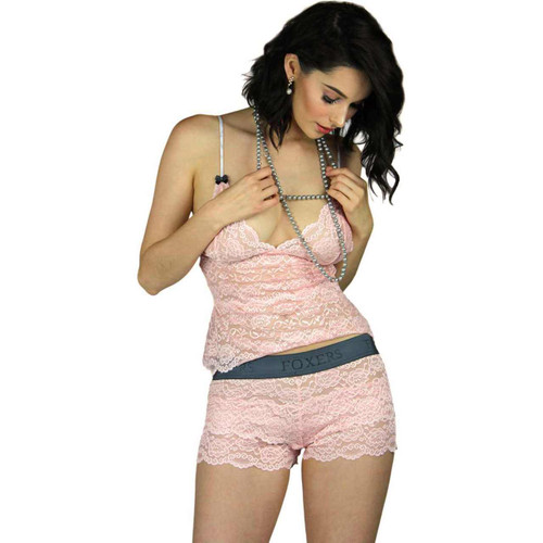 Pink Lace Lingerie Set - Camisole and Boxers